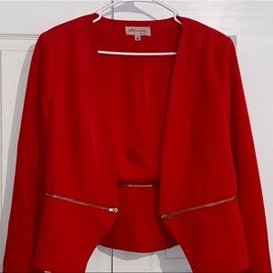 NWOT red blazer with zippered details on front